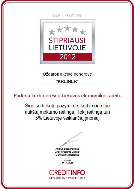 sertifikatas 2012